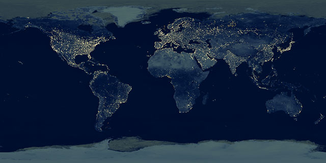 Earth at night texture map