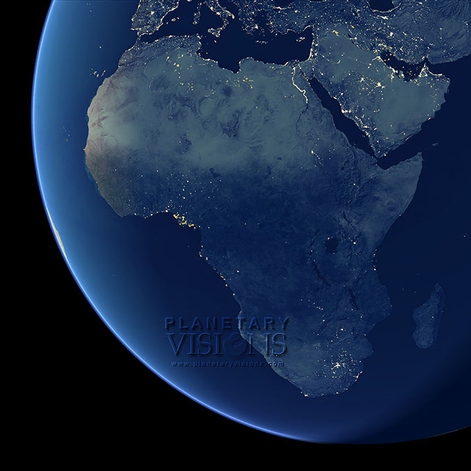 Night-time view of Africa.