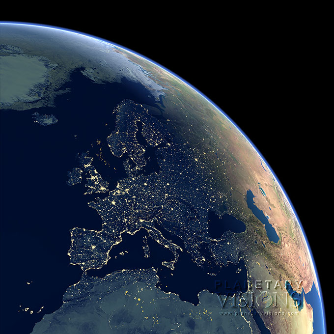 Night-time view of Europe.
