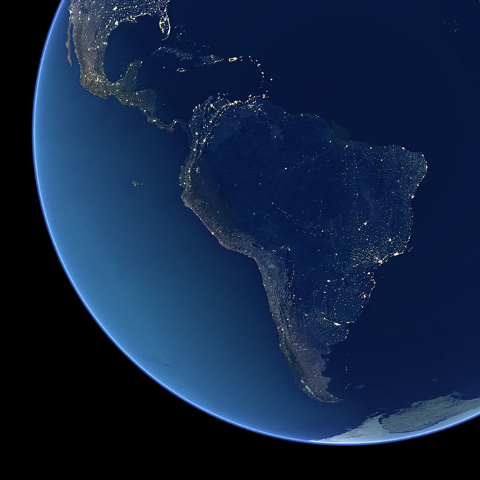 Night-time view of South America.