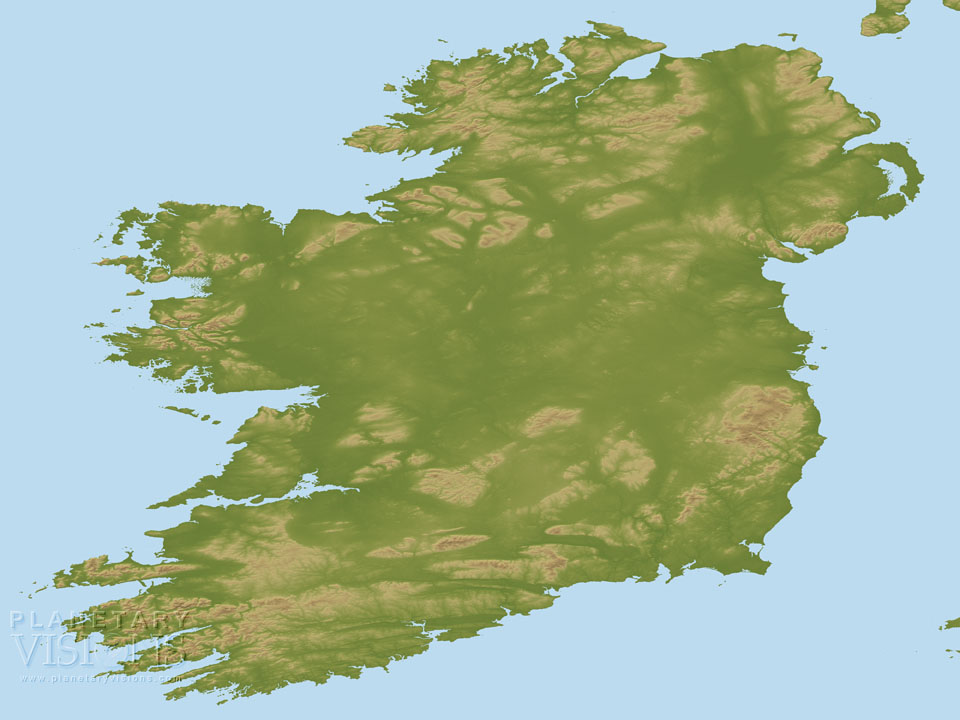 Ireland coloured by height