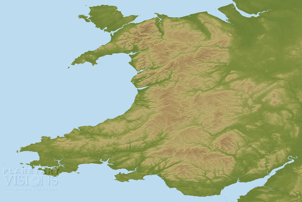 Wales coloured by height