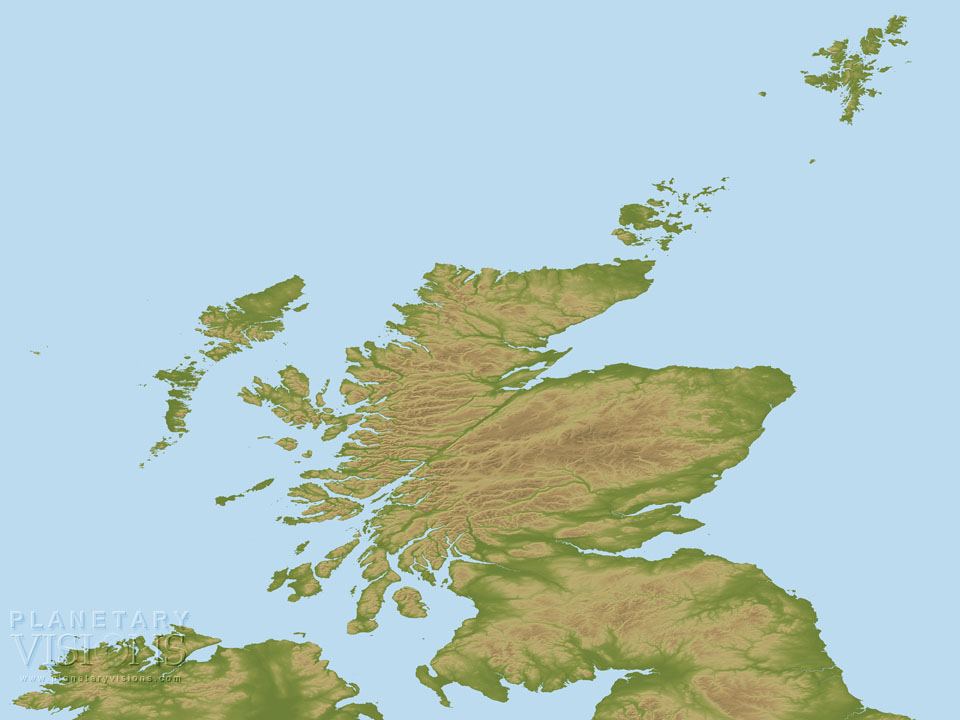 Scotland coloured by height