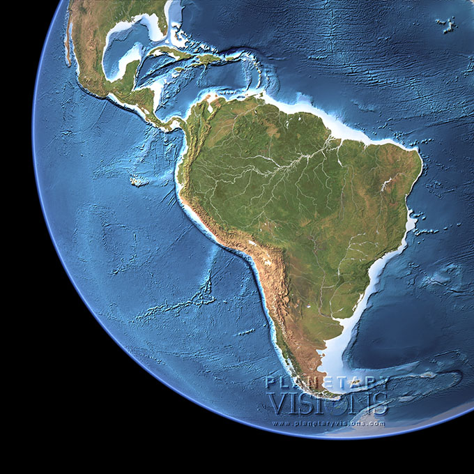 Cloud-free view of South America with ocean depth.